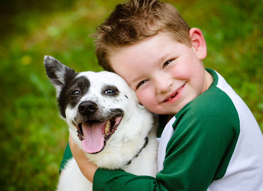 L'enfant bien être avec l'animal de compagnie